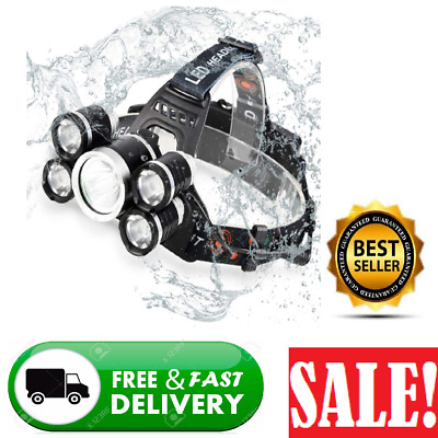 LED Headlamp Flashlight, Super Bright T6 LED Zoomable 4 Modes High Lumens Waterp