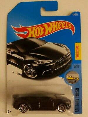 SEALED Long Card issue Hot Wheels Tesla Model S in dark grey colour