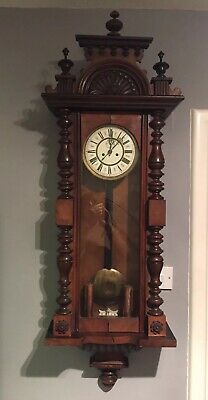 Vintage Pendulum Wall Clock with Enamel Dial & Glazed Wood Case Spares & Repair.
