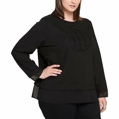 Tommy Hilfiger Womens Plus Jewel Neck Illusion Sweatshirt Black 3X