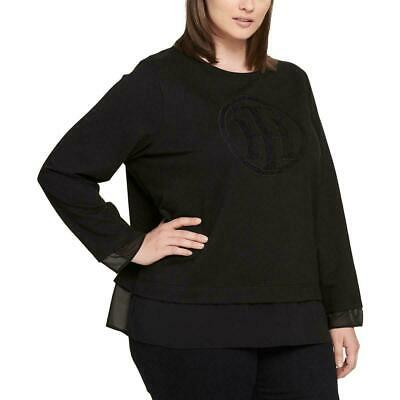 Tommy Hilfiger Plus Size Layered-Look Logo To Black 2X