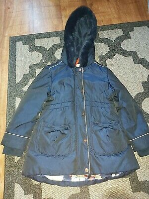 GIRLS NAVY TED BAKER HOODED COAT AGE 5-6 YEARS. With matching gloves