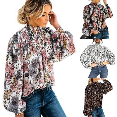 Womens Floral Loose Balloon Long Sleeve Blouse Ladies High Neck Party BOHO Tops