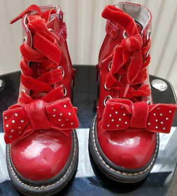 Girls Lelli Kelly, Red Patent Boots, Size 8  Eur 26, Suede/Diamante Detail