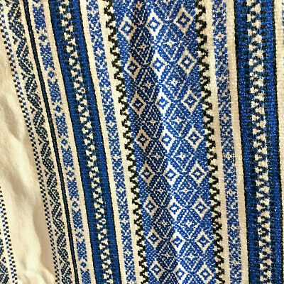Vintage Mexican Inspired White Cotton Tablecloth Blue Embroidery Large 11 Napkin