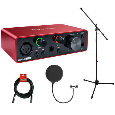 Focusrite Scarlett Solo 2x2 Audio Interface, 3rd Gen w/ Stand, Filter & Cable