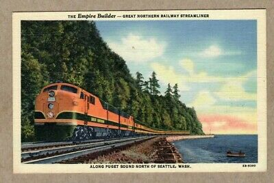 The Empire Builder Great Northern RR Train With 1949 Gold Gulch Cancel Postcard