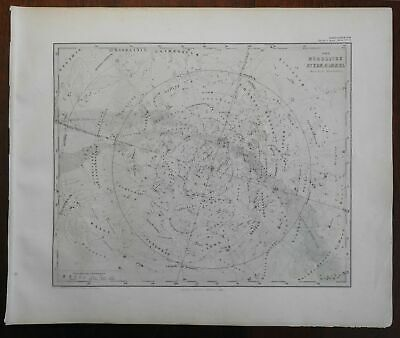Northern Night Sky Constellations Zodiac Celestial 1867 Stieler celestial map