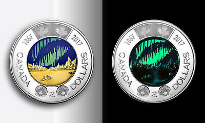 2017 Canada colored $2 toonie 150 anniv Dance of spirits, glow in dark from roll