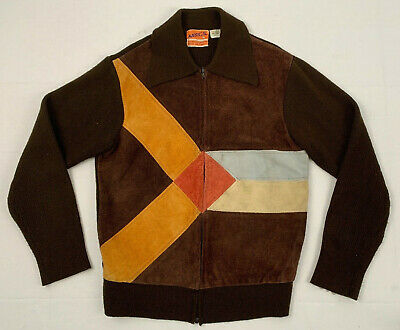 MADRIGAL vintage 70s suede leather panel acrylic full zip sweater jacket sz m l