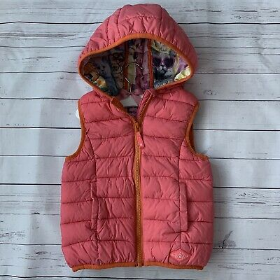 Girls 4 Years - Gilet - NEXT Pink Bodywarmer Quilted Puffer Kitten Cat Warm Hood