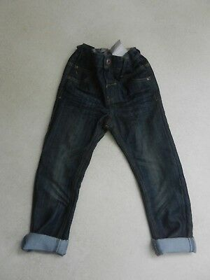 BNWT Next Boys Trendy Regular Fit Jeans Dark Blue Age 4-5 Years Adjustable Waist
