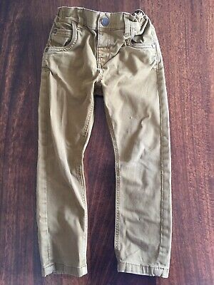 NEXT Boys Brown Tan Jeans 24-36 Months 2-3 Years Elasticated Waist Slim Leg