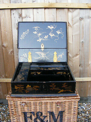 Antique Oriental Japanese Chinese Black Lacquer Wooden Stationary Box Lap Desk