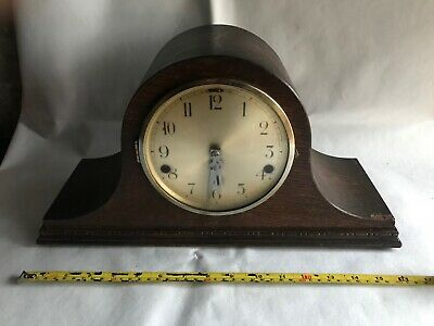 antique mantle piece clock wooden with key, brass