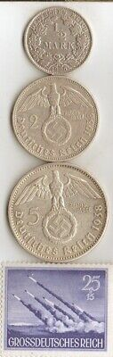 "*3-*SILVER EAGLE-coins+*WW2-*german *rare STAMP of ""PINAMUNDA  Rocket Launcher"""