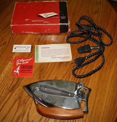 Vintage Samson Fold Away Travel Iron In Box Tested Works