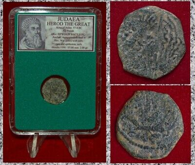 Ancient Coin JUDAEA HEROD THE GREAT War Galley Anchor Bronze Prutah
