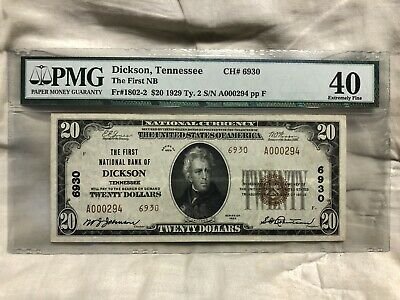 First National Bank of Dickson Tennessee $20 PMG 40 XF 1929 Rare Type 2