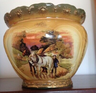 Antique Ceramic Jardiniere Decorated With Country Scenes-Makers Stamp