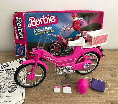 BARBIE - Motor Bike Set Realistic Sounds with Helmet Books Original Box Vintage