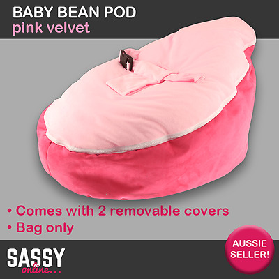 Baby Toddler Bean Bag Beanpod Bean Pod Pink Velvet With Straps and 2 Covers