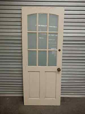 Front Door - Solid Timber 9 Pane Frosted Glass 820w x 2040h, 5d