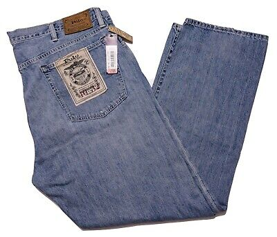 POLO RALPH LAUREN Thompson Relaxed Denim Jeans Light Blue Distressed 40 x 32 New