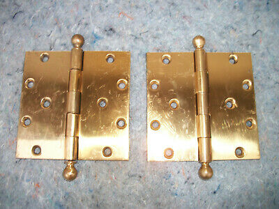 "Vintage Y & T Brass Gate / Barn Door Hinges Large 5""x 5"" # 2"