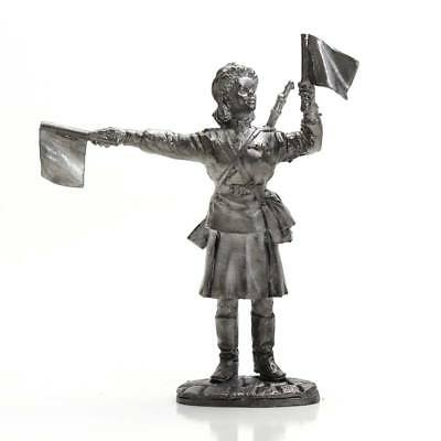 "Tin toy metal soldier ""Soviet army - woman-traffic controller 1945"" (54mm) #191"