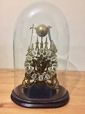 Rare Triple Fusee Skeleton Clock Under Glass Dome 8 Bells Dual Chime.