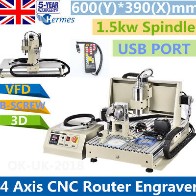 USB 4 Axis 6040 CNC Router Engraver 1.5KW 3D Milling Engraving Machine+Handwheel
