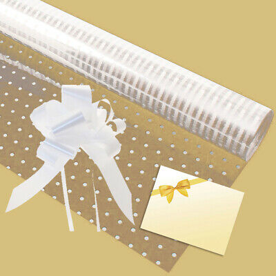 Cellophane gift wrap 2m x 80 cm-Pink Baby Shower Girl FREE PULL BOW /& CARD