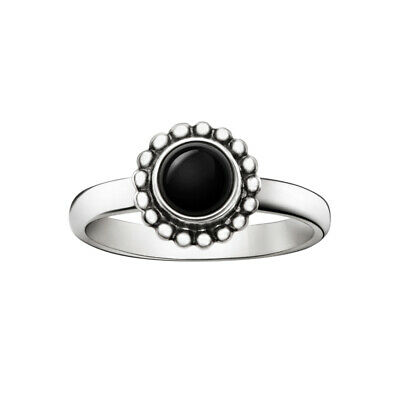 Georg Jensen. Sterling Silver Black Agate Ring #9B - Moonlight Blossom
