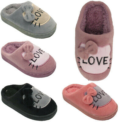Girls Kids Winter Infant Soft Fleece Textile Kitten  Slippers Shoes Size UK 7-3
