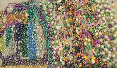 LARGE LOT CHUNKY FANCY MARDI GRAS BEADS ENDYMION  50 + Pieces