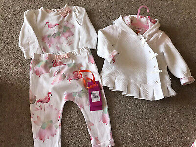 Ted Baker Baby Girls 3 Piece Flamingo Outfit Jacket Top Leggings 9-12 Months