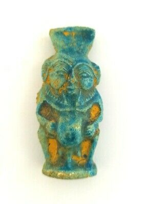 Rare Bes God Statuette Egyptian Antique Icon Of Sex Faience Sculpture 654 BC