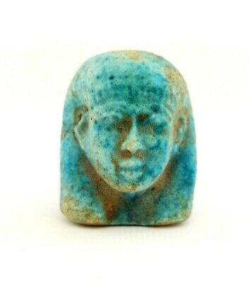 Greek Isis Hathor Antique Ptahmai Bust Roman Period Ancient Egyptian Faience