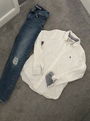 Boys H&M Ripped Jeans & White Shirt Set Outfit 12-13 Years