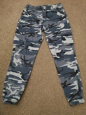 Blue Girls New Look 915 Cargo Trousers, Age 14 Years