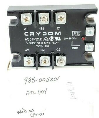 A53DP50D Crydom 3-Phase Solid State Relay 50A 90-280VAC Input