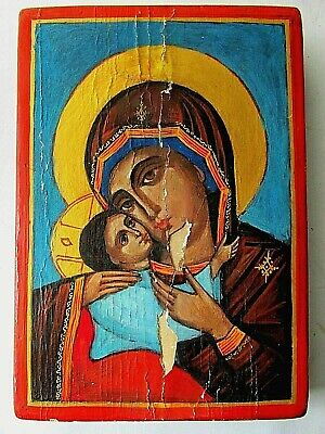 """Old Orthodox hand painted icon Holy Virgin Mary-""""Our Lady of Tenderness"""""""