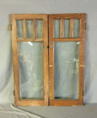 Antique Pair Chestnut 15x40 Cabinet Cupboard Arts & Crafts Doors VTG 81-20B