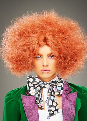 Womens Mad Hatter Style Frizzy Auburn Wig