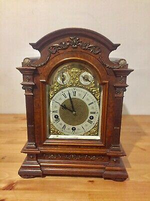 Antique Rare Burr Walnut Cased Bracket Clock By Lenzkirch   5 Gongs! C1900