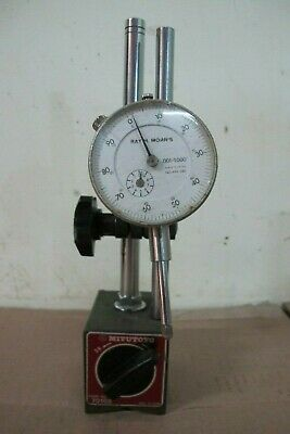 MITUTOYO 7010S MAGNETIC BASE INDICATOR HOLDER w/DIAL INDICATOR
