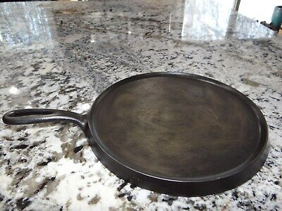 Unmarked #9 Cast Iron Round Griddle Heat Ring Skillet Vtg Antique CLEANED NICE!