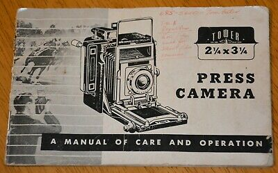 "Vintage TOWER Press Camera instruction booklet, 2 1/4"" x 3 1/4"""