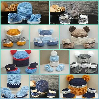 * New Handmade crochet baby boy pompom hat & booties early baby newborn to 12m